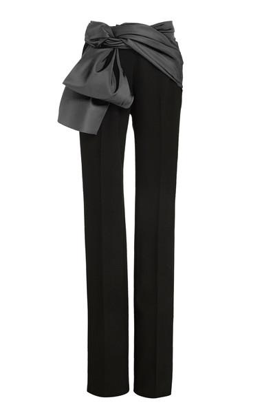Carolina Herrera Satin-Trimmed Crepe Straight-Leg Pants in black