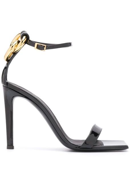 Giuseppe Zanotti square toe ring sandals in black