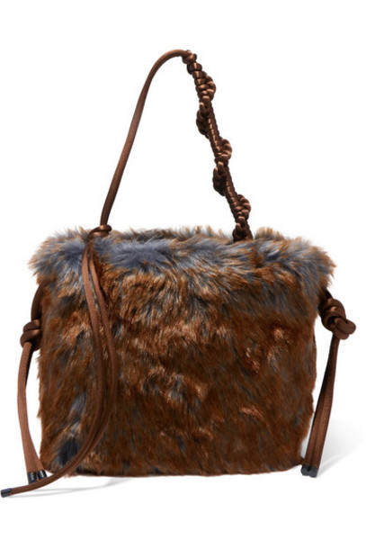 Dries Van Noten - Scrunchy Two-tone Faux Fur Tote - Brown