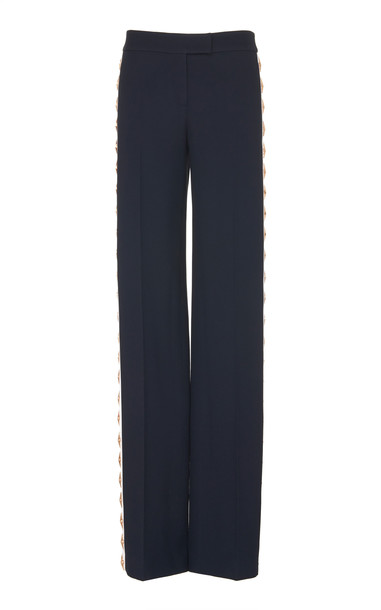 Michael Kors Collection Star-Embellished Crepe Straight-Leg Pants Size in blue