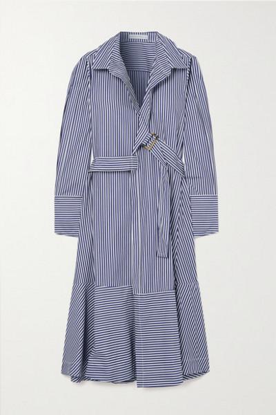 palmer/harding palmer//harding - Calli Belted Striped Cotton-poplin Wrap Midi Shirt Dress - Navy