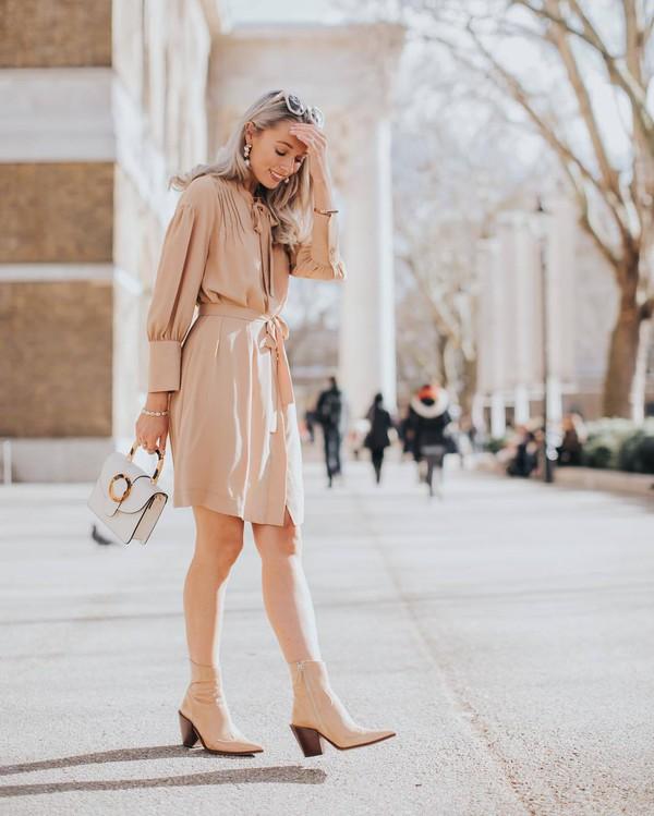 dress shirt dress mini dress ankle boots white bag handbag