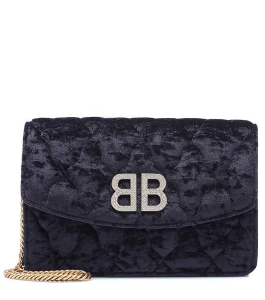 Balenciaga BB Wallet On Chain velvet shoulder bag in black