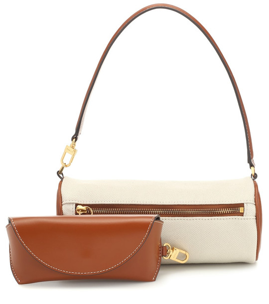 Staud Suzy canvas and leather shoulder bag in beige