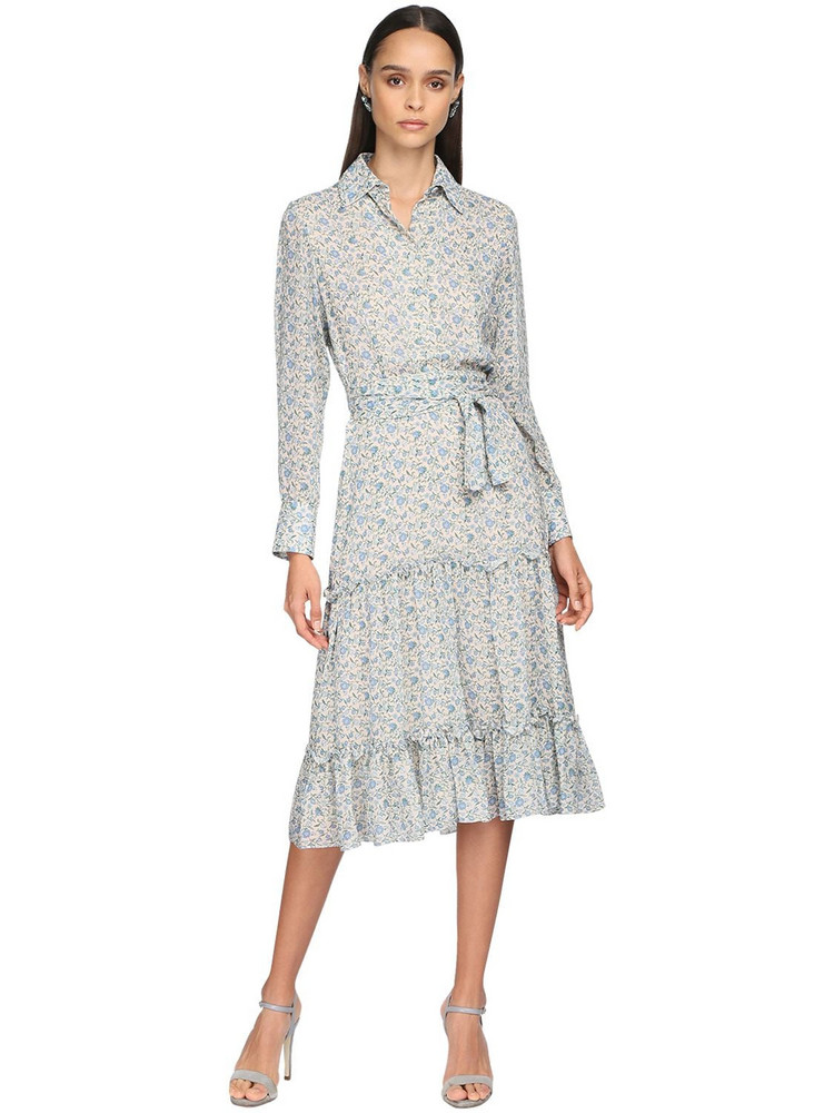 LUISA BECCARIA Printed Georgette Shirt Dress in blue / ivory
