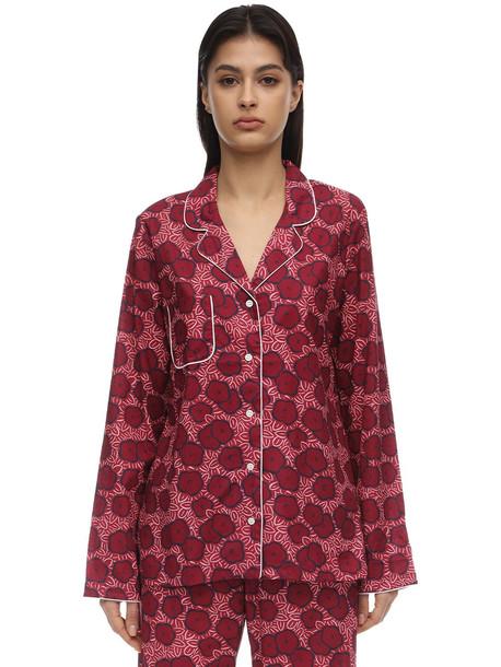 DEREK ROSE Ledbury Batiste Long Cotton Pajama Set in pink / multi
