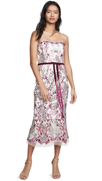 Marchesa Notte Strapless Sequin Embroidered Gown in lilac