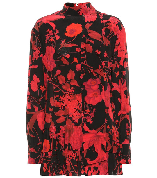 Valentino Floral silk blouse in red