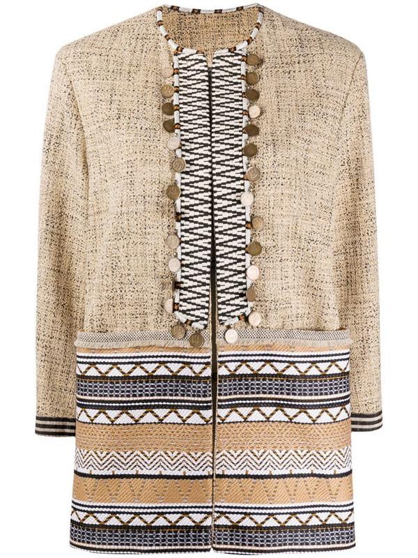 Bazar Deluxe geometric jacquard embellished jacket in brown