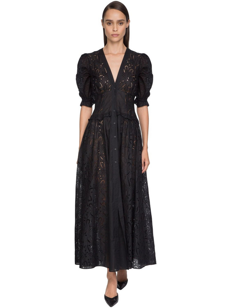 ERMANNO SCERVINO Belted Eyelet Lace Shirt Dress in black
