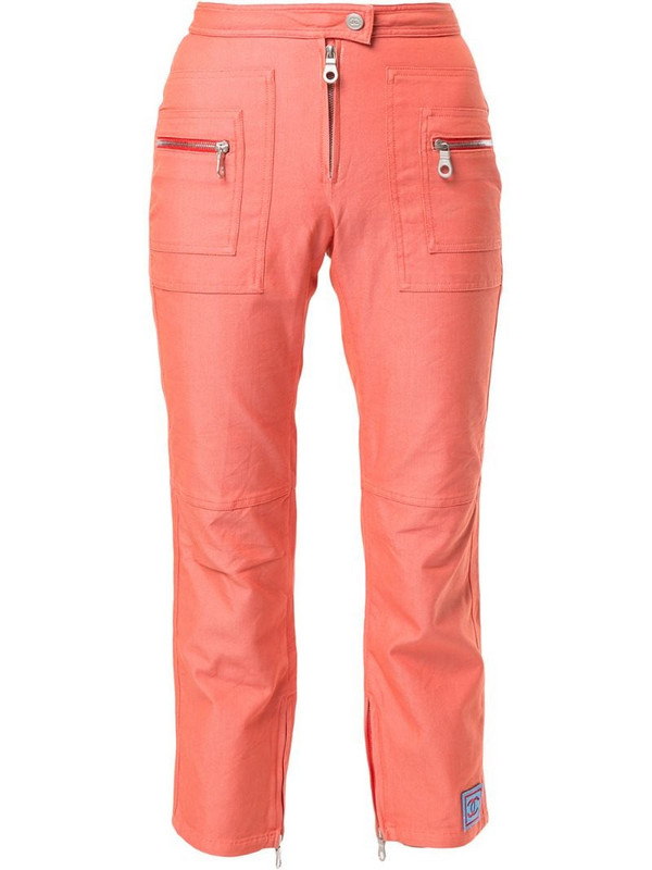 Chanel Pre-Owned Sports Line zipped details cropped trousers in orange