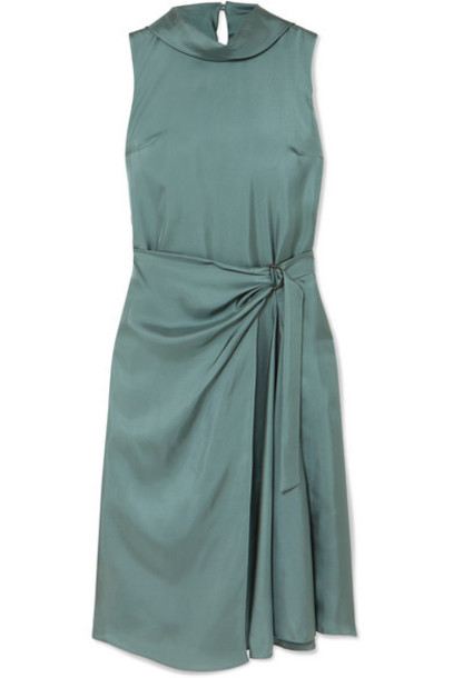Brunello Cucinelli - Twisted Silk-twill Dress - Dark green