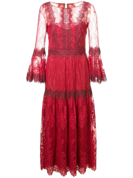 Marchesa Notte lace midi dress in red
