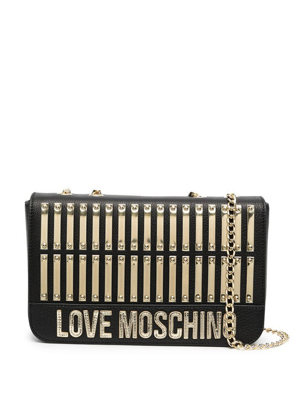 Love Moschino logo-plaque leather shoulder bag in black
