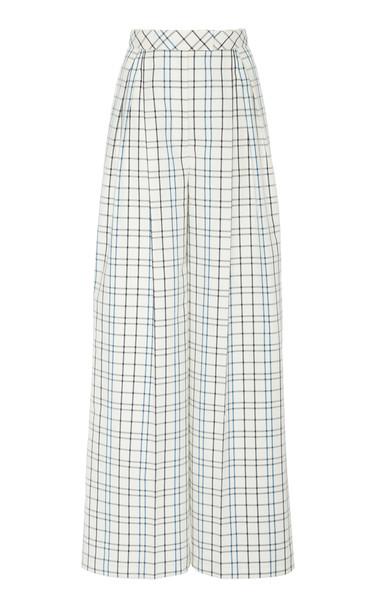 Carolina Herrera Pleated Wide Leg Cotton Pant Size: 0 in white