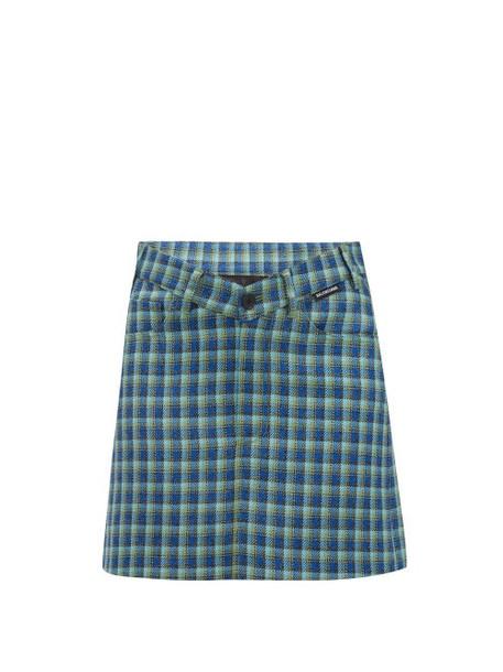 Balenciaga - V Waist Checked Wool Mini Skirt - Womens - Blue Multi