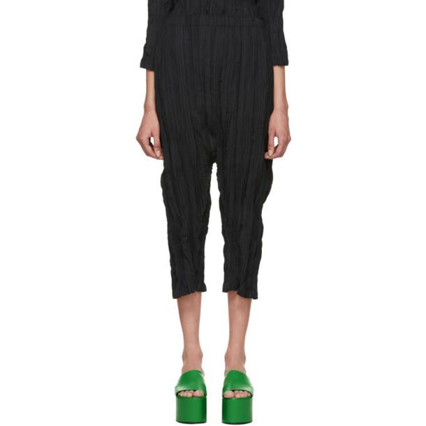 Issey Miyake Black Splash Pleats Solid Trousers