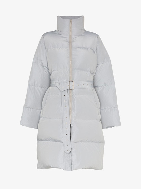Blindness belted mid-length puffer coat in grey