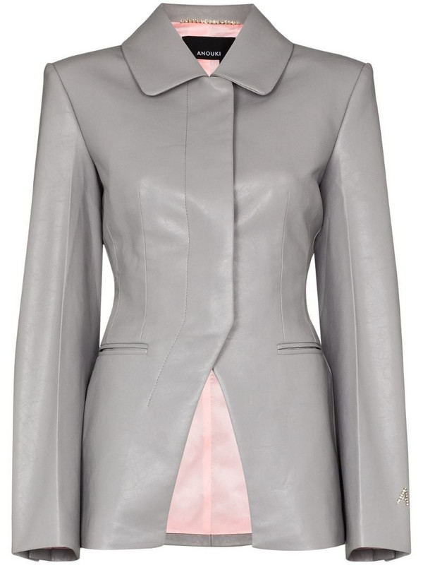 ANOUKI faux leather blazer in grey