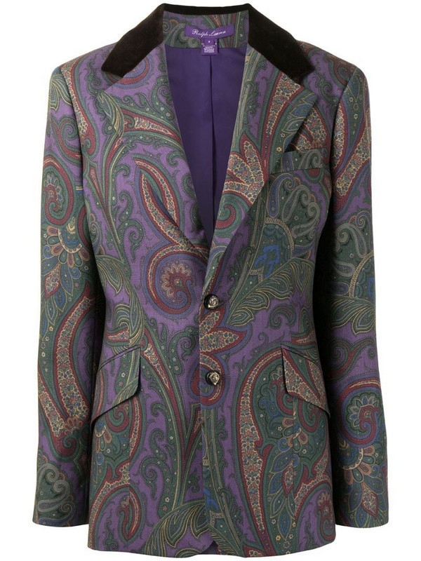 Ralph Lauren Collection single breasted paisley-print blazer in purple