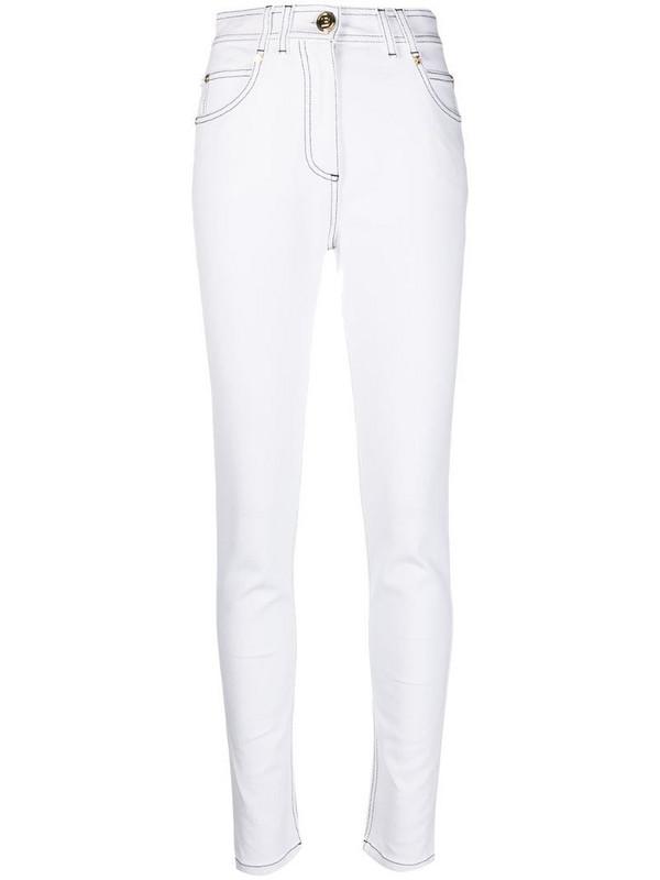 Balmain high-waisted skinny jeans in white