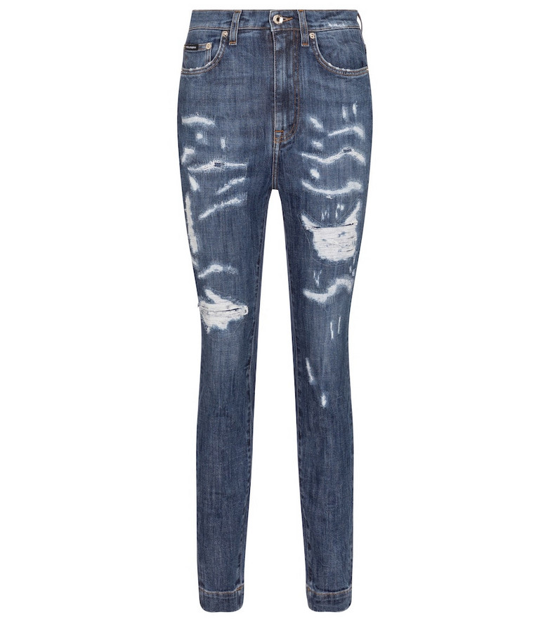 Dolce & Gabbana Distressed high-rise skinny jeans in blue