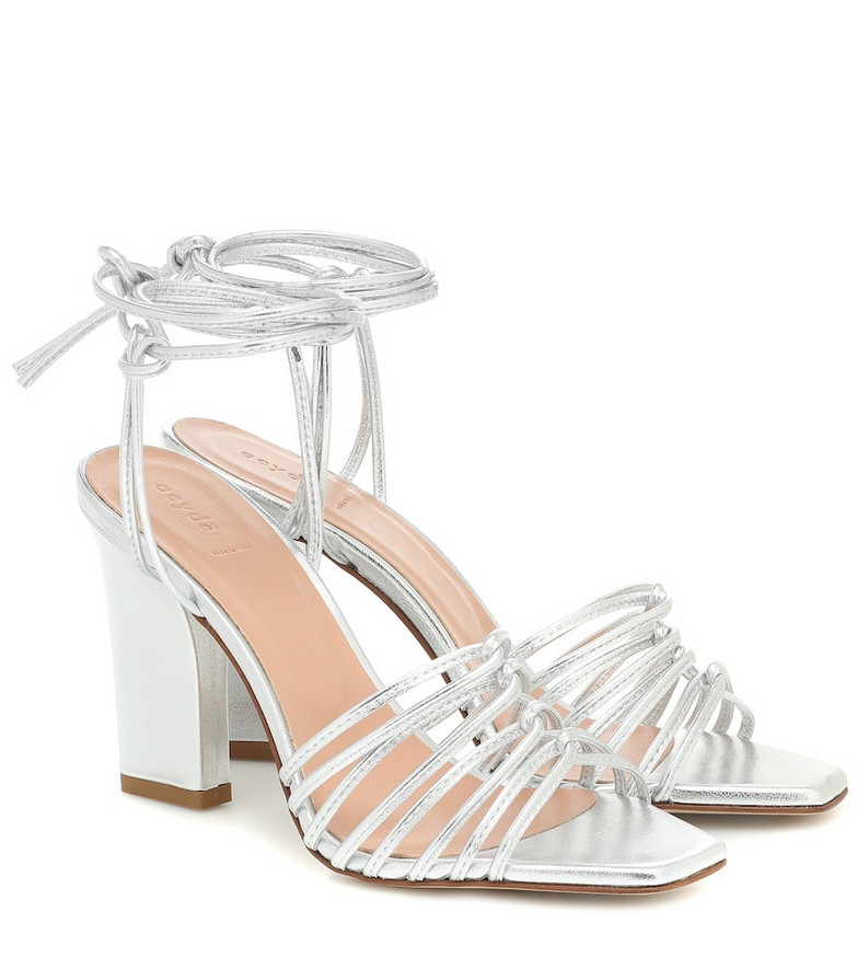 Aeydé Daisy metallic-leather sandals in silver