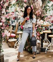 top,white blouse,polka dots,high waisted jeans,straight jeans,cropped jeans,mules,black bag,handbag