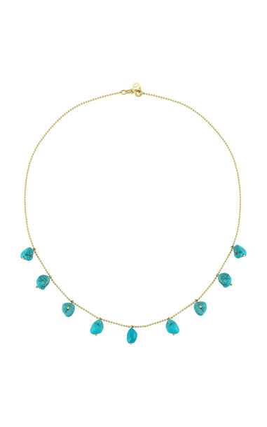 Charms Company Fallen Sky Turquoise 18K Yellow Gold Necklace in blue