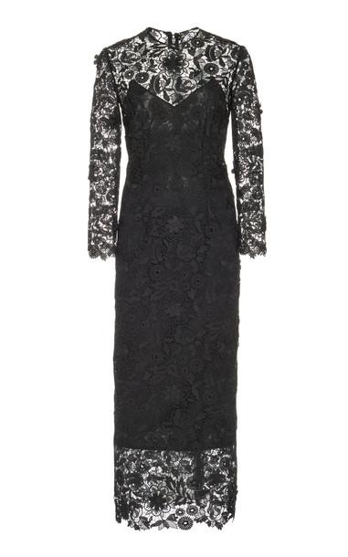 Carolina Herrera Lace Sheath Dress Size: 0 in black