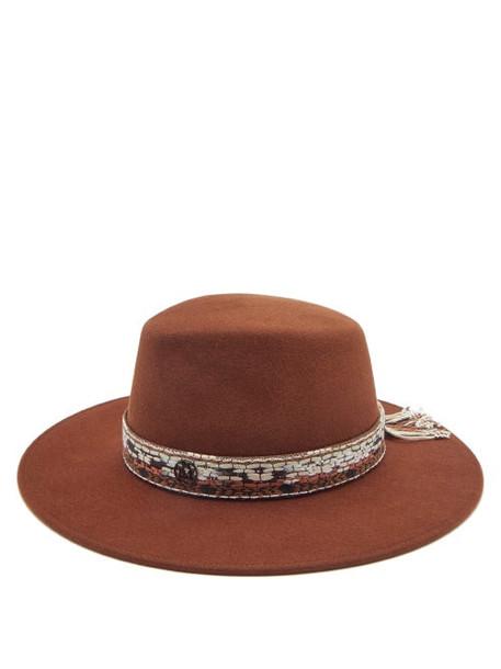 Maison Michel - Kyra Woven-trim Felt Hat - Womens - Dark Brown