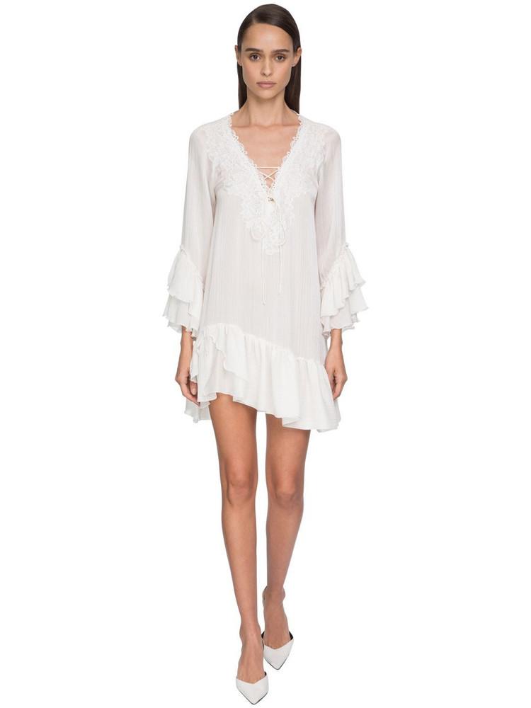 ERMANNO SCERVINO Ruffled Muslin & Lace Mini Dress in white