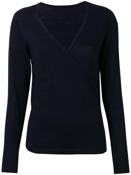 Sottomettimi V-neck wrap sweater in blue