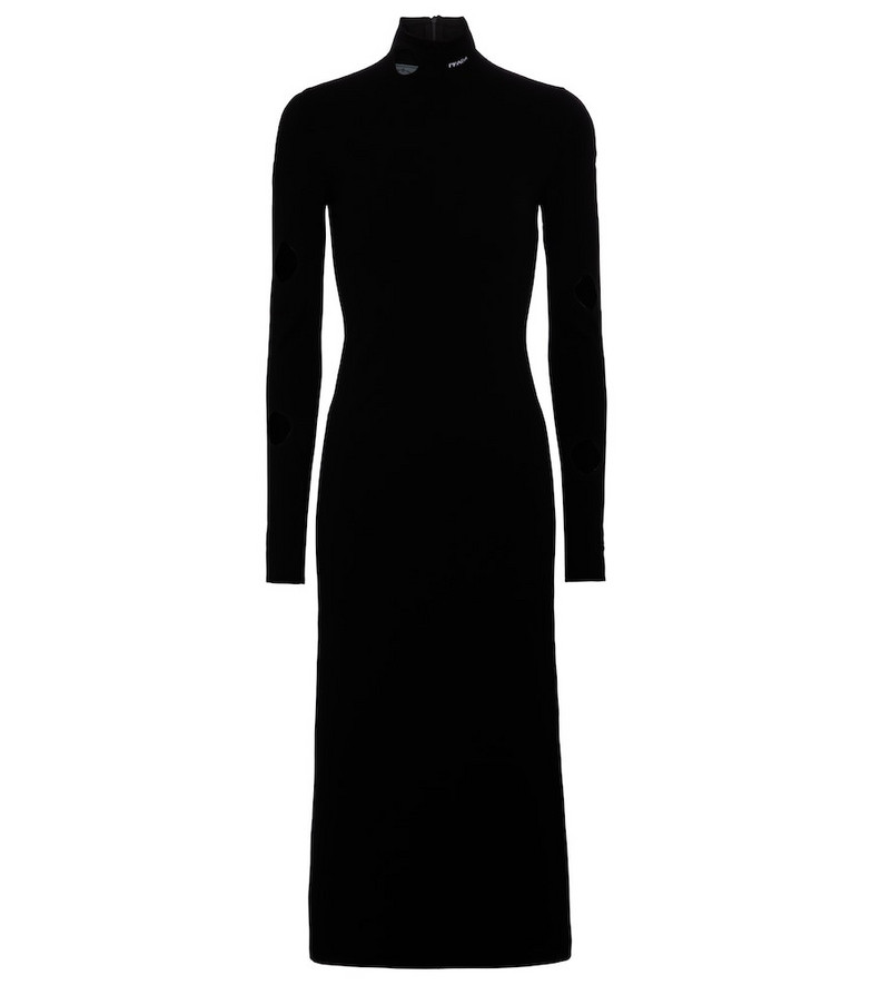 Prada Cut-out midi dress in black