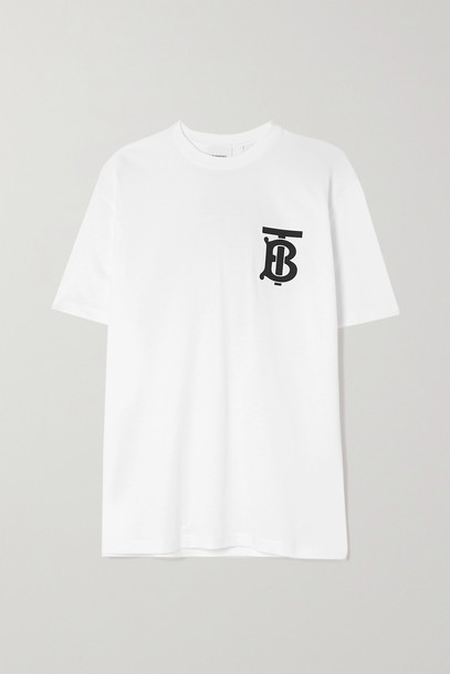 BURBERRY - Oversized Printed Cotton-jersey T-shirt - White