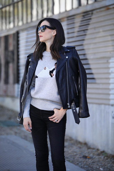 inspades blogger sweater jeans sunglasses shoes jacket leather jacket