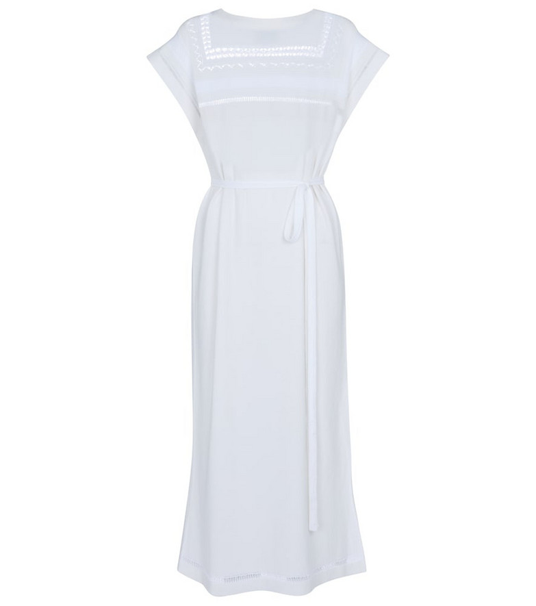 Barrie Crochet cashmere and cotton midi dress in white