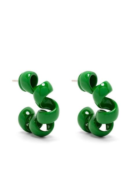 Bottega Veneta coiled hoop earrings in green