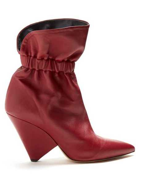 Isabel Marant - Lileas Leather Ankle Boots - Womens - Burgundy
