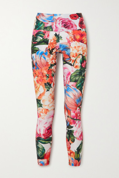 Twin Fantasy - Floral-print Stretch Leggings - Red
