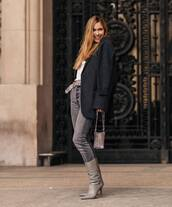 jeans,high waisted jeans,grey jeans,isabel marant,grey boots,heel boots,coat,white top,handbag