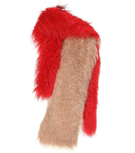 Dries Van Noten Feather-trimmed scarf in red