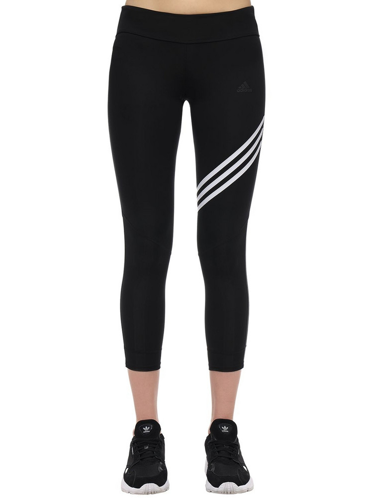 ADIDAS PERFORMANCE Run It 3 Stripes Cropped Leggings in black