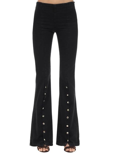 L'AUTRE CHOSE Flared Cotton Pants W/ Buttons in black