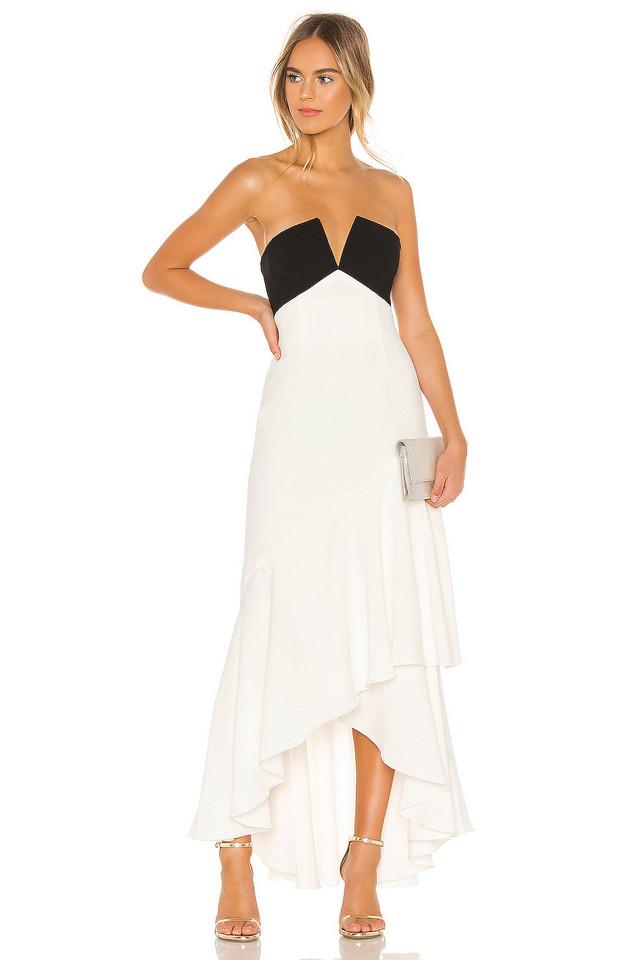 JILL JILL STUART Strapless Ruffle Gown in white