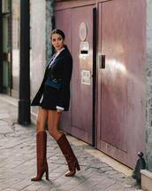 shoes,knee high boots,ysl,black blazer,crossbody bag,white dress