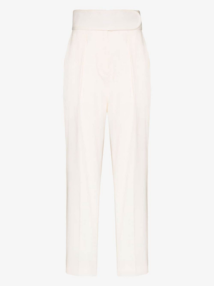We11done High-waisted straight leg trousers in white