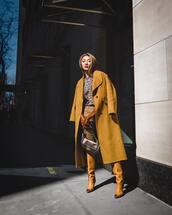 coat,yellow coat,long coat,knee high boots,jeans,top,leopard print,gloves,bag