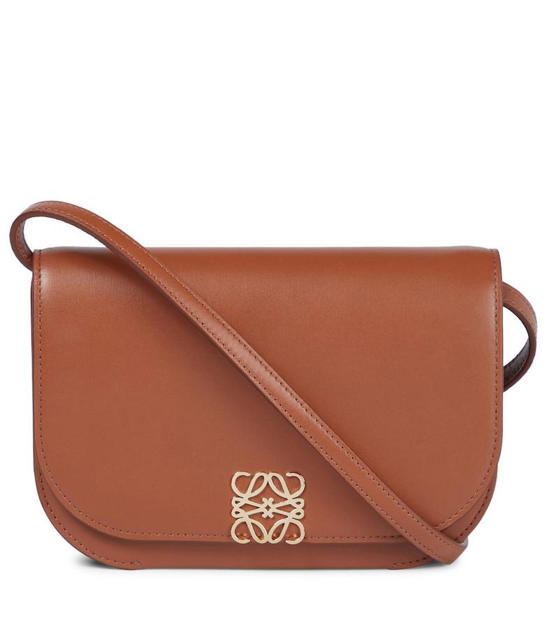 LOEWE Goya leather clutch in brown