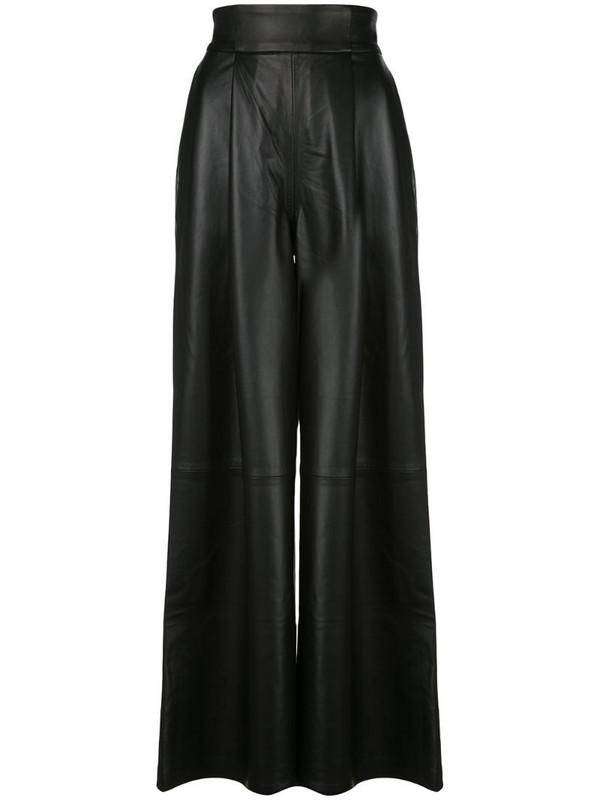 Skiim Amanda leather wide leg trousers in black